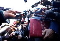 Fabrizio Gallo, avvocato di Roberto Lacopo, benzinaio gesore di un'area di servizio considerata una delle basi di Massimo Carminati, parla ai giornalisti all'esterno del Tribunale, in occasione dell'apertura del processo su Mafia Capitale, a Roma, 5 novembre 2015.<br /> Roberto Lacopo's lawyer Fabrizio Gallo, talks to reporters outside of the court, on the occasion of the opening of the trial on Mafia Capitale, in Rome, 5 November 2015.<br /> UPDATE IMAGES PRESS/Riccardo De Luca