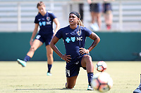 Cary, North Carolina  - Saturday August 19, 2017: Jessica McDonald prior to a regular season National Women's Soccer League (NWSL) match between the North Carolina Courage and the Washington Spirit at Sahlen's Stadium at WakeMed Soccer Park. North Carolina won the game 2-0.
