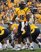 WVU quarterback Jarrett Brown. The WVU Mountaineers defeated the East Carolina Pirates 35-20 at Mountaineer Field at Milan Puskar Stadium, Morgantown, West Virginia on September 12, 2009.