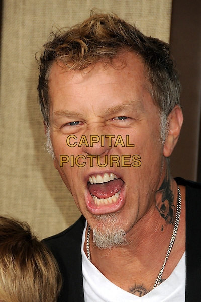 "James Hetfield (of Metallica).""Journey 2: The Mysterious Island"" Los Angeles Premiere held at Grauman's Chinese Theatre, Hollywood, California, USA..February 2nd, 2012.headshot portrait mouth open goatee facial hair tattoo .CAP/ADM/BP.©Byron Purvis/AdMedia/Capital Pictures."