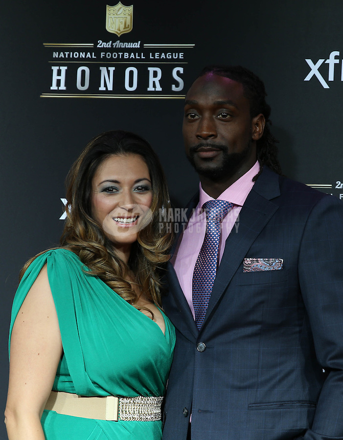 Feb. 2, 2013; New Orleans, LA, USA:  NFL player Charles Tillman (right) with wife Jackie Tillman on the red carpet prior to the Super Bowl XLVII NFL Honors award show at Mahalia Jackson Theater. Mandatory Credit: Mark J. Rebilas-USA TODAY Sports