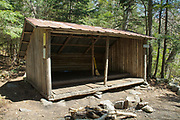 The old Eliza Brook Shelter along the Appalachian Trail (Kinsman Ridge Trail), between Mount Wolf and South Kinsman, in the New Hampshire White Mountains. This was an Adirondack style shelter that slept 8. It was replaced with a new shelter in 2010.