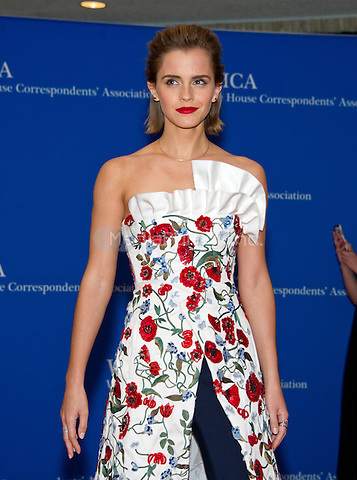 Actress Emma Watson arrives for the 2016 White House Correspondents Association Annual Dinner at the Washington Hilton Hotel on Saturday, April 30, 2016.<br /> Credit: Ron Sachs / CNP<br /> (RESTRICTION: NO New York or New Jersey Newspapers or newspapers within a 75 mile radius of New York City)/MediaPunch
