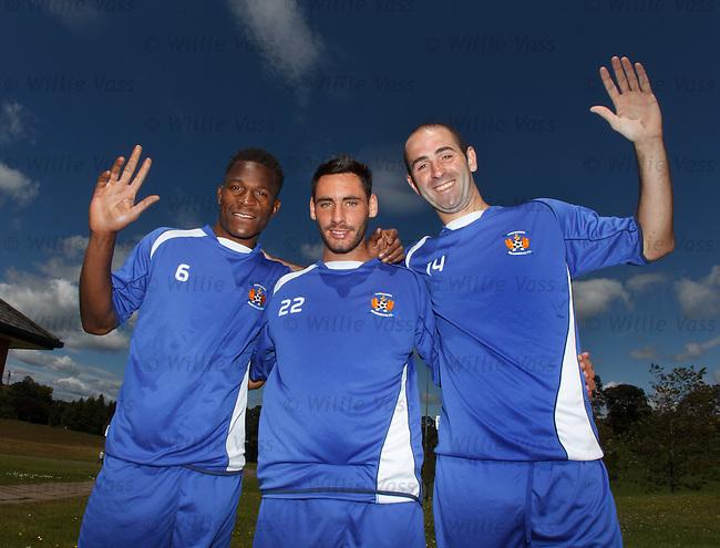 Kilmarnock's new signings Patrick Ada, Danny Racchi and Gary Harkins.
