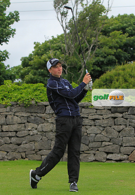 Darren Leufer (Athenry) on the 1st tee during R2 of the 2016 Connacht U18 Boys Open, played at Galway Golf Club, Galway, Galway, Ireland. 06/07/2016. <br /> Picture: Thos Caffrey | Golffile<br /> <br /> All photos usage must carry mandatory copyright credit   (&copy; Golffile | Thos Caffrey)