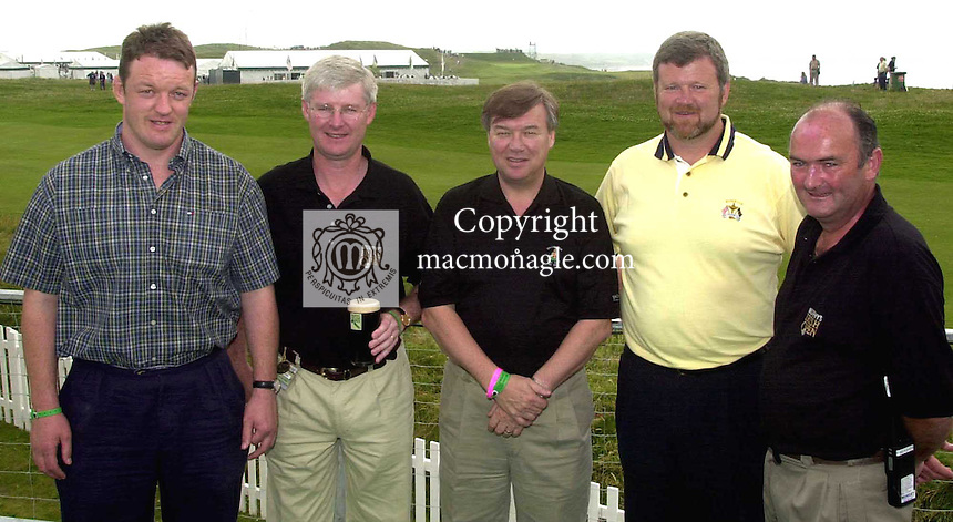Pictured at the Murphy's Irish Open at Ballybunion were from left, Mick Galwey, Padraic Liston, Managing Director, Michael Foley, Eoin Bomber Liston and Pat Maher..Picture by Don MacMonagle