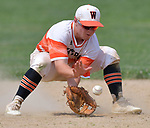 Waterloo second baseman Tyson Roedl grabs a Carbondale hit up the middle in the Class 3A Salem baseball sectional championship game at Salem HS in Salem, IL on Saturday June 1, 2019.<br /> Tim Vizer/Special to STLhighschoolsports.com