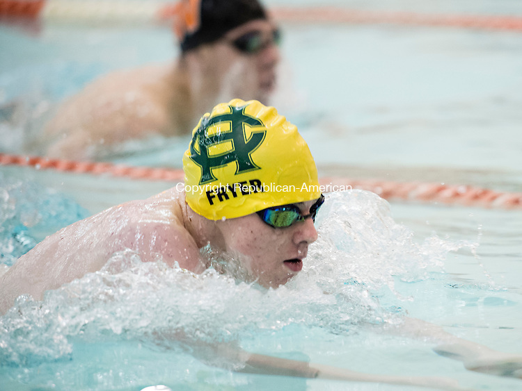 WATERTOWN, CT - 22 December 2015-122215EC03--  Holy Cross' Chris Fryer leads during the breastroke portion of the 200 Individual Medley. Fryer won the event, in 2:09.55, in Watertown Tuesday night. Erin Covey Republican-American.