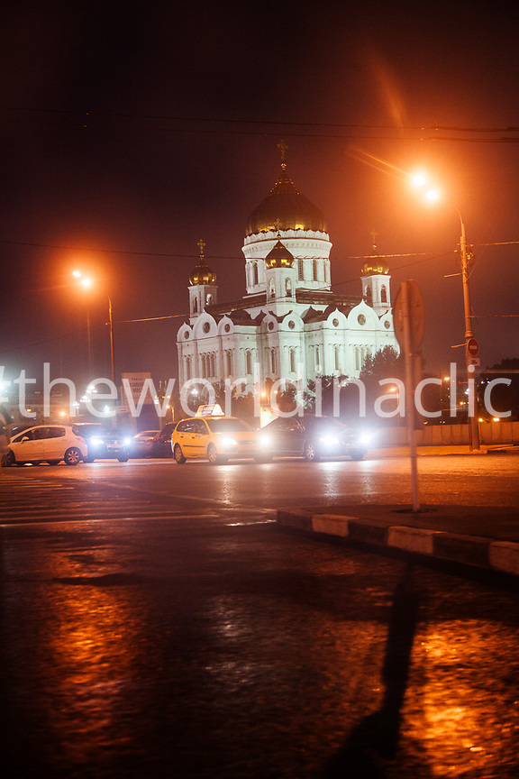 RUSSIA, Moscow. View of the Cathedral of Christ the Saviour at night.