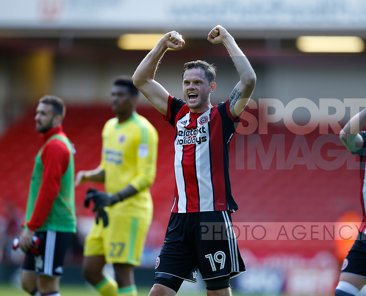 Richard Stearman of Sheffield Utd celebrates the win during the English Championship League match at Bramall Lane Stadium, Sheffield. Picture date: August 5th 2017. Pic credit should read: Simon Bellis/Sportimage
