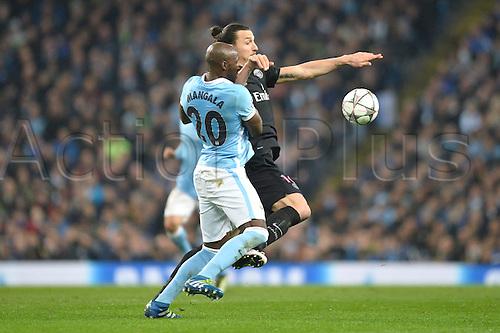 12.04.2016. manchester, England. UEFA Champions league, quarterfinals, second leg. Manchester City versus Paris St Germain.  ELIAQUIM MANGALA (man) tussles with ZLATAN IBRAHIMOVIC (psg)