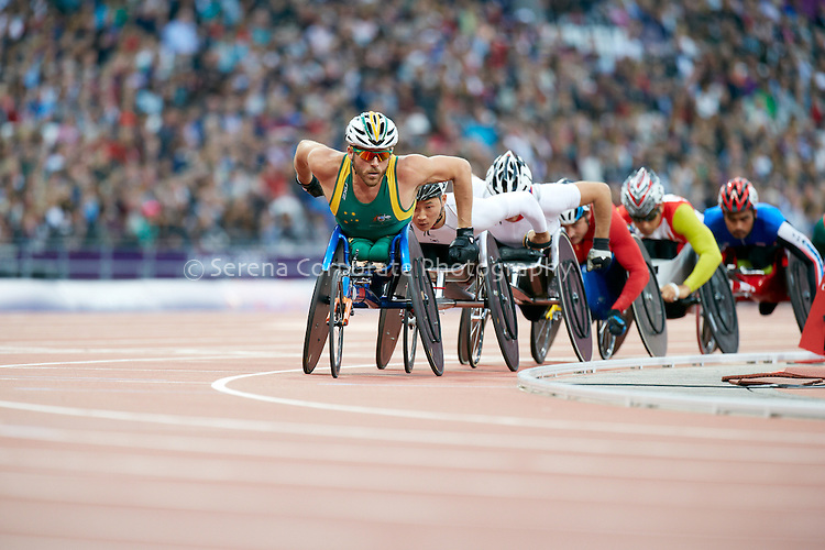 Australia's Kurt Fearnley races in the Men's T54 5000m heats, London Paralymipc Games - Athletics 31.8.12