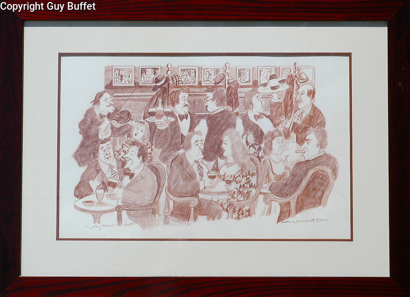 """""""Chez Albert""""<br /> 15x28 Sepia-colored Pencil on Paper ORIGINAL<br /> $7,500<br /> <br /> Special hand drawn restaurant scene in Guy's sense of what life is supposed to be all about!"""