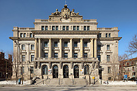 Bibliotheque et Archives Nationales du Quebec (BAnQ), or National Library and Archives of Quebec, built in Beaux-Arts style and founded 1920, in Montreal, Quebec, Canada. This building previously housed the Ecole des Hautes Etudes Commerciales, founded 1910. Picture by Manuel Cohen