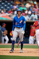 Durham Bulls Dalton Kelly (19) at bat during an International League game against the Toledo Mud Hens on July 16, 2019 at Fifth Third Field in Toledo, Ohio.  Durham defeated Toledo 7-1.  (Mike Janes/Four Seam Images)