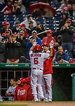 23 May 2017: Washington Nationals catcher Jose Lobaton greets Anthony Rendon after Rendon opened the scoring with a 2-run homer in the second inning against the Seattle Mariners at Nationals Park in Washington, DC. The Nationals defeated the Mariners 10-1 to take the first game of their inter-league series. Mandatory Credit: Ed Wolfstein Photo *** RAW (NEF) Image File Available ***