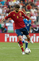10.06.2012. Gdansk, Polonia. Eurocopa 2012. Gerard Pique in action during match between Spain against Italy in Gdsnk Arena