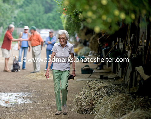 Betty Merck on the backside at Saratoga.