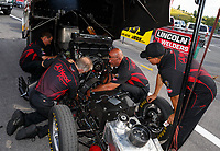 Jun 16, 2017; Bristol, TN, USA; Crew members for NHRA funny car driver Jonnie Lindberg during qualifying for the Thunder Valley Nationals at Bristol Dragway. Mandatory Credit: Mark J. Rebilas-USA TODAY Sports