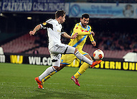 Thursday 27 February 2014<br /> Pictured L-R: Pablo Hernandez of Swansea against Raul Albiol o Napoli<br /> Re: UEFA Europa League, SSC Napoli v Swansea City FC at Stadio San Paolo, Naples, Italy.