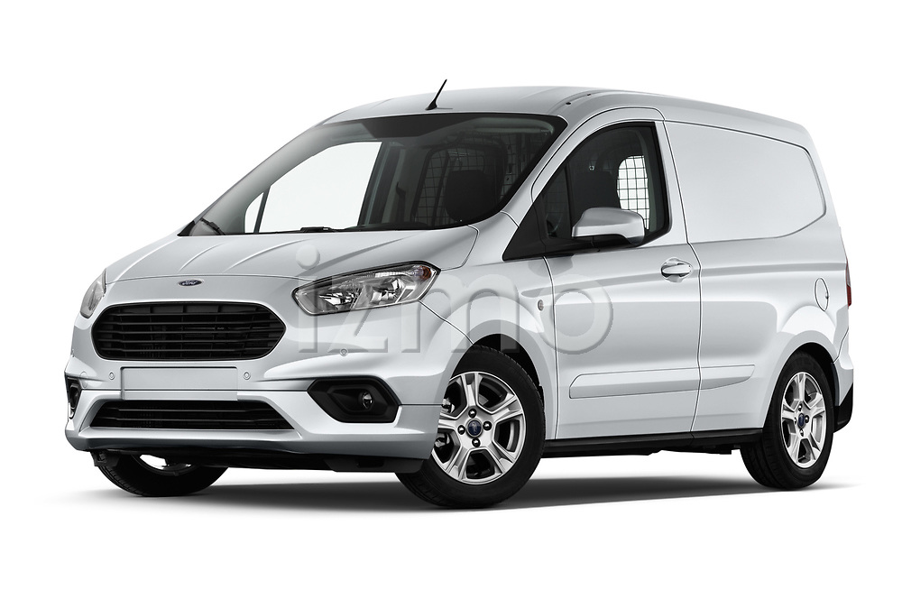 Stock pictures of low aggressive front three quarter view of a 2018 Ford transit courier Limited 4 Door Car Van