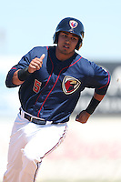 Rio Ruiz #5 of the Lancaster JetHawks runs the bases during a game against the Lake Elsinore Storm at The Hanger on April 6, 2014 in Lancaster, California. Lancaster defeated Lake Elsinore, 7-4. (Larry Goren/Four Seam Images)