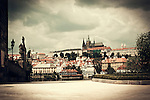 atmospheric photo of Prague with dark sky in sepia tone