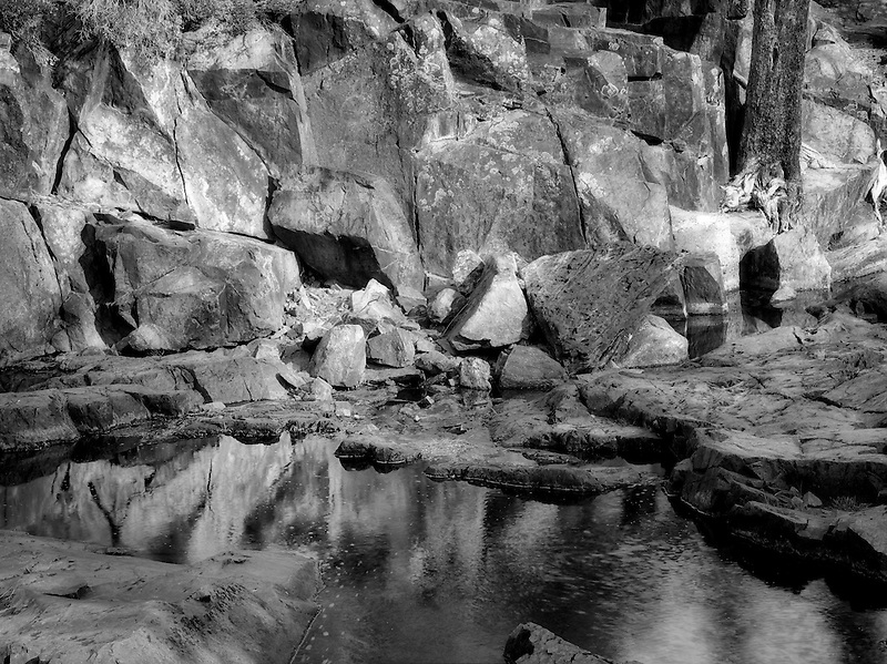Pool of water with lichen covered rocks on Glen Alpine Creek. Near Fallen Leaf Lake, California