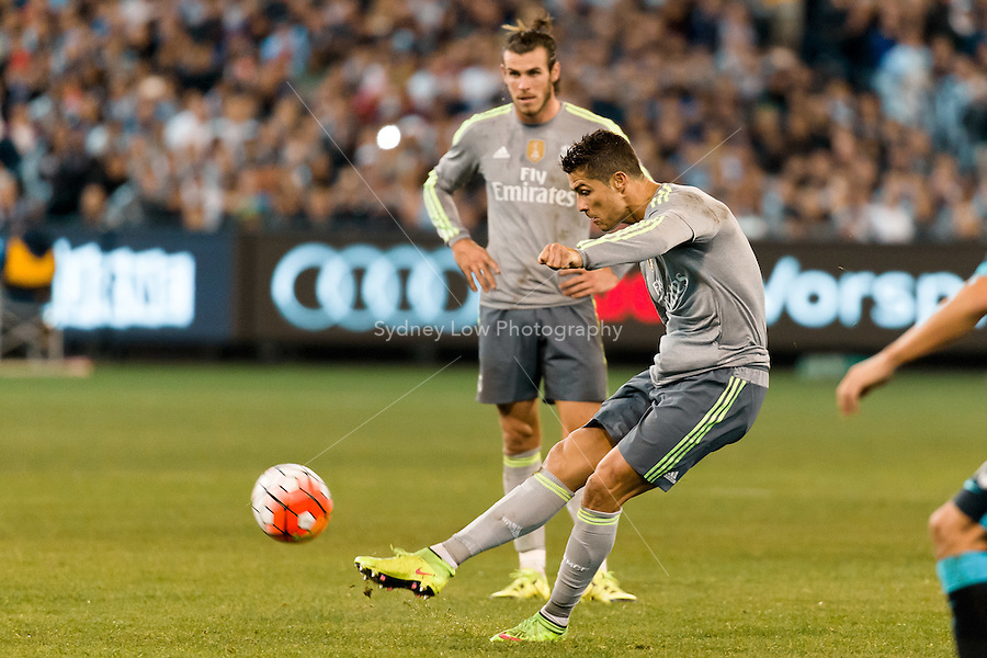 Melbourne, 24 July 2015 - Cristiano Ronaldo of Real Madrid kicks for goal in game three of the International Champions Cup match between Manchester City and Real Madrid at the Melbourne Cricket Ground, Australia. Real Madrid def City 4-1. (Photo Sydney Low / AsteriskImages.com)