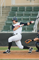 Nick Mahin (40) of the Kannapolis Intimidators follows through on his swing at Fieldcrest Cannon Stadium in Kannapolis, NC, Wednesday July 2, 2008. (Photo by Brian Westerholt / Four Seam Images)