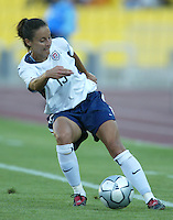 17 August 2004:  Kate Markgraf in action against Australia  at Kaftanzoglio Stadium in Thessaloniki, Greece.     USA tied Australia at 1-1.   Credit: Michael Pimentel / ISI