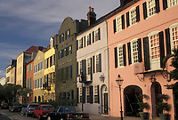 Rainbow Row, Charleston, South Carolina, SC, Rainbow Row, a collection of colorful historical houses, along East Bay Street in Charleston in the spring.