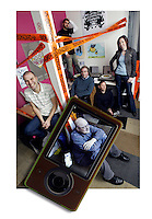 Kyle Hopkins, Jon Kertzer, Omid Fatemi, Emily Griffin, Andy Kessler and Paul Pearson are all members of Microsoft's Zune Marketplace team. Shown at their Redmond offices Monday, Jan. 8, 2007. (Photo by Andy Rogers)
