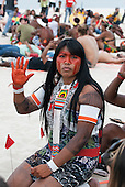 Mayalu Waura Txucarramae, an indigenous activist, at the People's Summit at the United Nations Conference on Sustainable Development, Rio de Janeiro, Brazil, 2012. Photo © Sue Cunningham.
