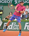 Jarko Nieminen (FIN) loses to Novak Djokovic (SRB) 6-2, 7-5, 6-2 at  Roland Garros being played at Stade Roland Garros in Paris, France on May 26, 2015