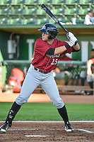 Roman Collins (25) of the Idaho Falls Chukars at bat against the Ogden Raptors in Pioneer League action at Lindquist Field on August 27, 2015 in Ogden, Utah. Ogden defeated the Chukars 4-3.  (Stephen Smith/Four Seam Images)