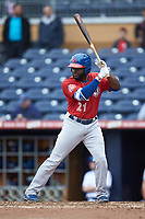 Dwight Smith Jr. (21) of the Buffalo Bison at bat against the Durham Bulls at Durham Bulls Athletic Park on April 25, 2018 in Allentown, Pennsylvania.  The Bison defeated the Bulls 5-2.  (Brian Westerholt/Four Seam Images)