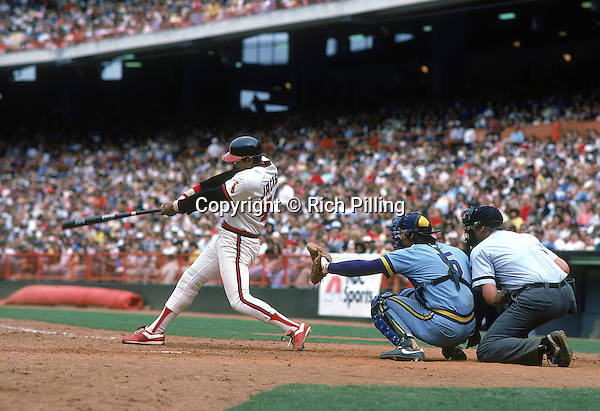 ANAHEIM, CA - 1982:  Reggie Jackson of the California Angels swings at a pitch during a game in 1982 at Anaheim Stadium in Anaheim, California. (Photo by Rich Pilling)