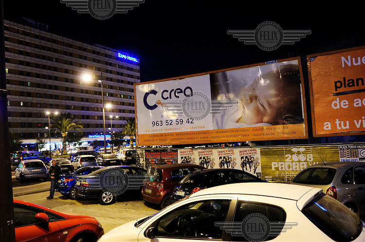 Advertising for a fertility clinic. Due to liberal laws concerning embro testing and egg donation, Valencia has a booming international business in assisted fertility.
