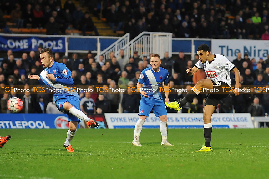 Cyrus Christie of Derby County` shoots during Hartlepool United vs Derby County at Victoria Park