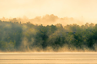 Morning fog on the Saint John River at sunrise<br /> Mactaquac<br /> New Brunswick<br /> Canada