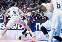 Real Madrid's Sergio Llull and Rudy Fernández and Khimki Moscow's Tyrese Rice during Euroleague match at Barclaycard Center in Madrid. April 07, 2016. (ALTERPHOTOS/Borja B.Hojas) /NortePhoto