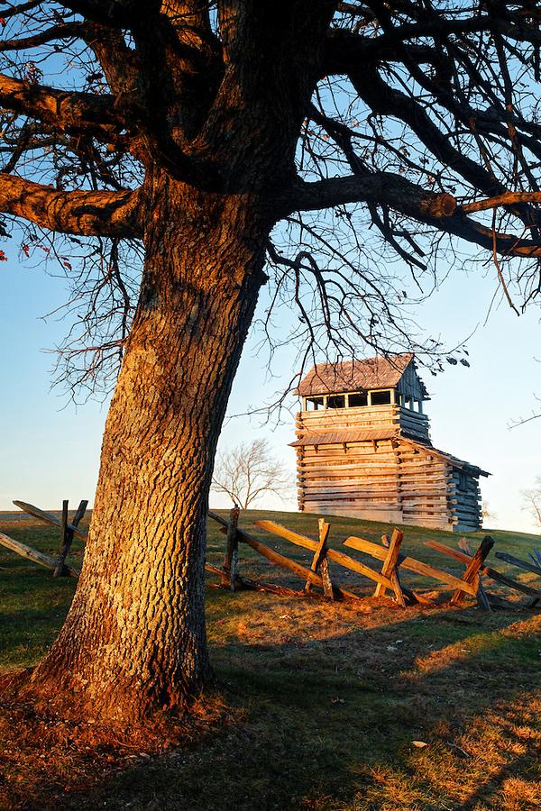 Groundhog Mountain Lookout Tower and split-rail fence, Blue Ridge Parkway, Virginia, USA