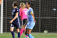 Piscataway, NJ - Saturday Aug. 27, 2016: Kelley O'Hara, Christen Press celebrates scoring during a regular season National Women's Soccer League (NWSL) match between Sky Blue FC and the Chicago Red Stars at Yurcak Field.