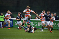 Robbie Fergusson of London Scottish Football Club and Lawrence Rhys of Ealing Trailfinders during the Greene King IPA Championship match between London Scottish Football Club and Ealing Trailfinders at Richmond Athletic Ground, Richmond, United Kingdom on 26 December 2015. Photo by Alan  Stanford / PRiME Media Images