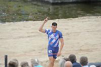 FIERLJEPPEN: WINSUM: 10-08-2013, Fries kampioenschap Fierljeppen, Bart Helmholt, ©foto Martin de Jong