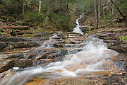 Kedron Flume in Hart's Location, New Hampshire during the spring months. This waterfall is within Crawford Notch State Park. The Kedron Flume Trail crosses this brook, and during times of high water, this crossing can be difficult.