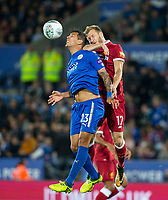 Leonardo Ulloa of Leicester City & Ragnar Klavan of Liverpool during the football league cup Carabao Cup 3rd round match between Leicester City and Liverpool at the King Power Stadium, Leicester, England on 19 September 2017. Photo by Andy Rowland.