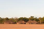 Xingu Indigenous Park, Mato Grosso, Brazil. Aldeia Matipu. Oca houses.