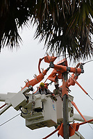 FPL Crews restoring power during Hurricane Dorian in Jensen, Fla. on September 4, 2019